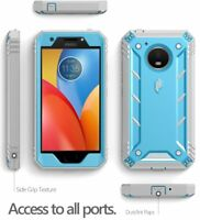 Poetic Revolution Blue Case【Built-in-Screen Protector】For Motorola Moto E4 Plus