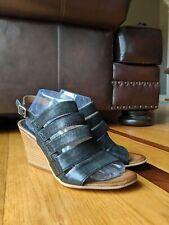Miz Mooz 'Kenmare' Womens Black Leather Peep Toe Wedge Sandal SIZE 41 US 9.5-10