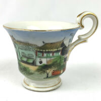 """Vintage Asian Hand Painted Tea Cup Oriental Village Scene Gold Trim China 2.25"""""""