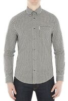 Ben Sherman Cotton Gingham Check Shirt Regular Long Sleeve Button Black White