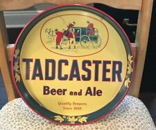 "Vintage Tadcaster Beer & Ale 12"" Inch Metal - Tin Litho Tray Worchester Ma"