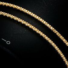 Women 2mm Popcorn Link Chain Necklace Real 18k Yellow Gold 15.7inch Necklace