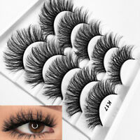 SKONHED 5 Pairs/3D Soft Mink Hair Wispy Fluffy Long Lashes Extension Full Strips
