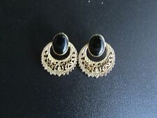 Beautiful Black Oval Gold Tone Circle Post Earrings