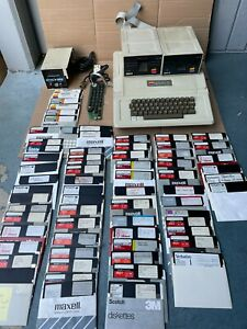 Apple II Plus Computer System + TONS FLOPPY GAME PROGRAMS COOL TIME FAN FLOPPY