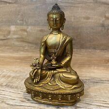 """Vintage Lord Buddha Statue Tibet Tibetan Buddhist Brass Meditation 8"""" Tall"""
