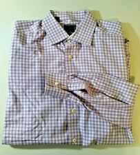 David Donahue Purple/White Mens Gingham Dress Shirt Size 17 34/35