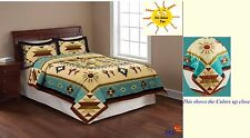 Quilt Full/Queen Size Southwest Design Native Bedding Cover Brown and Blue NEW
