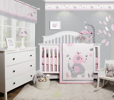 Harriet Bee Cheatwood Elephant Baby Girl Nursery 6 Piece Crib Bedding Set