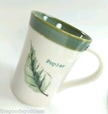 STARBUCKS 2007 POPLAR LEAF Coffee Mug 13 oz Nature Cream Sage Green Tree
