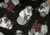 Do Ewe Knit? knitting sheep black Timeless Treasures  fabric