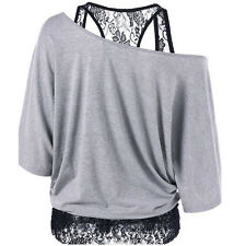 Grey Women Plus Size Lace Loose Blouse Casual Long Sleeve Tops Blouse T Shirt