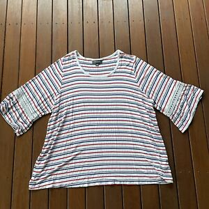 Autograph Plus Size 24 Striped TShirt 1/2 Sleeve Womens Casual