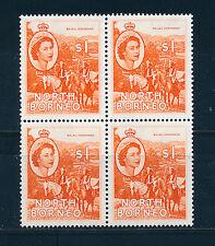 NORTH BORNEO 1954-57 DEFINITIVES SG383 $1 (HORSEMEN) BLOCK OF 4 MNH