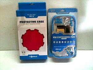 NEW BLUE STARTER KIT + PINK CONTROLLER PROTECTIVE CASE FOR NINTENDO WII U