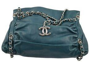 Chanel Sharpei Large Bag in Green Lambskin Leather - Free Shipping USA