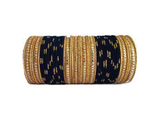 Indian Traditional Women Navy Blue Metal Ethnic Bangles Set Size 2.6