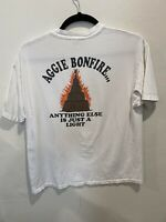 "Vintage 1992 Texas A&M Aggie Bonfire ""Anything Else is Just a Light"" White XL"