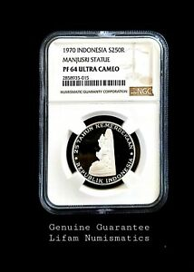 INDONESIA 1970 SILVER PROOF COIN250 RUPIAH MANJUSTRI STATUE NGC PF64 ULTRA CAMEO