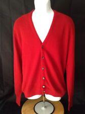 Vtg Robert Bruce Par-70 L Large Button Cardigan Grandpa Golf Sweater Red USA