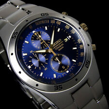 NEW MEN'S SEIKO TITANIUM RACING CHRONOGRAPH BLUE DIAL SPORTS WATCH SND449P1