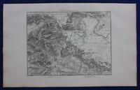 Original antique map FRANCE, VIENNE, 'PLAN DES ENVIRONS DE VIENNE', Dufour,1859