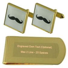 Moustache Gold-Tone Cufflinks Money Clip Engraved Gift Set