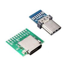 DIY 24 Pin USB 3.1 Type C Male+Female Plug Socket Connector SMT Type w/PCB 1 Set