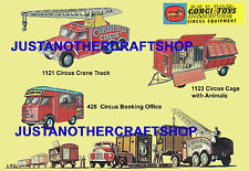 CORGI TOYS chipperfields circus 426 1121 1123 Poster Format A3 notice Shop Signe