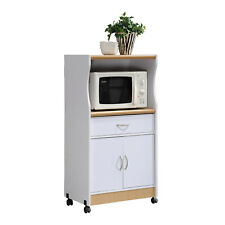 New listing White Rolling Microwave Cart with Storage Cabinet Drawer