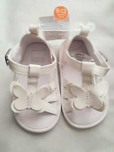 NWT Carters Butterfly Baby Girls White Sandals Crib Shoes 1 2 3 4