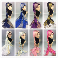 Fashion Women Wide Large Maxi Scarf Hijab Shawls Wrap Sequin Tassel Headwarp