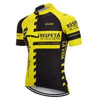 Yellow Mens Bike Jerseys Cycling Shirt Short Sleeve Tops Clothing 3 Rear Pockets