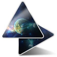 2 x Triangle Stickers 10 cm - Earth Twin Alien Planet Space  #24588