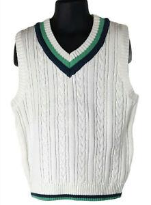 E-Land American Classic Boy White V-Neck Cable Knit Sweater Vest Sz 6x/7 Cotton