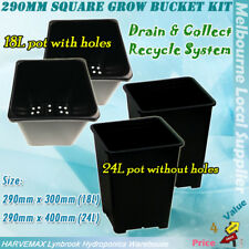 2 Sets Hydroponic 290mm Square Grow Bucket Kit 24L+18L Pots Recycle Water System