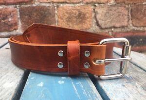 Natural Veg Tan 100% Leather Belt 3-3.5mm Choice of Colour Buckle Width Handmade