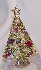 Napier Rhinestone Christmas Tree Pin Brooch-Fruit Salad Stones-F. Pearls-Signed