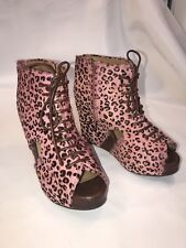 Jeffrey Campbell MARY FUR 9.5 Pink Leopard Brown Open PEEP Toe Ankle BOOTS