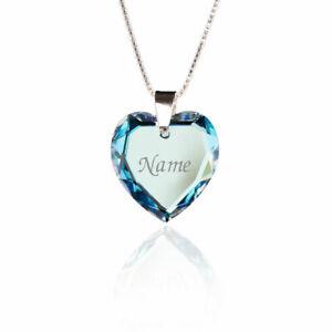 Damen Kette mit Gravur Silber Swarovski Elements Herz Blue Anhänger Namen Gravur