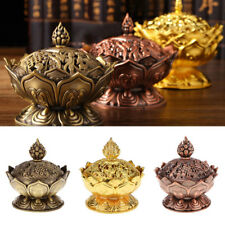 New Tibet Collect Alloy Auspicious Lotus Shape Statue Box Incense Burner Censer·