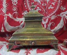 ancien encrier en bronze epoque XVIIIe louis XV ciselé porte plume