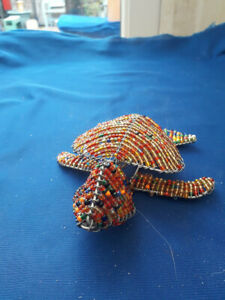 Moya Crafts Beaded Wire Turtle Sculpture Ornament African Style made in Scotland