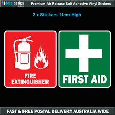 First Aid & Fire Decal Set 110mm x 100mm OH&S WHS car safety sticker #F023