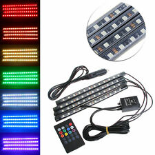 4X 12V RGB 12LED Strip Light Lamp Car Interior Floor Kit W/ Remote Music Control