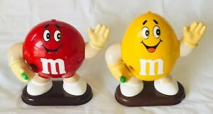 2 M&Ms Vintage 1991 Large Collectable Chocolate Dispensers Yellow + Red Mars Inc