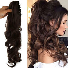 US Ponytail Clip In Hair Extensions Claw On Pony Tail Real As Human MEDIUM BROWN