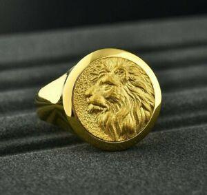 Solid Gold 14k 18k Signet African Lion jungle king head animal Men's Ring Gift