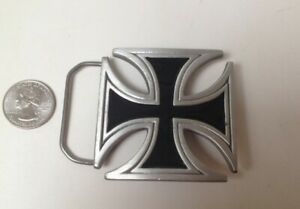 2000 Pure Pewter IRON CROSS motorcycle Belt Buckle #4559 - NEW