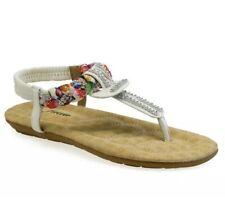 White Floral Braided Womens 7 Rhinestone Flat Flip Flop Sandal Slip On Slides